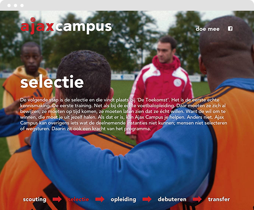 Screenshot of online campaign site we developed for Ajax
