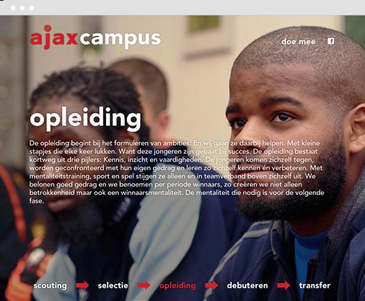 Screenshot of campaign website for Ajax