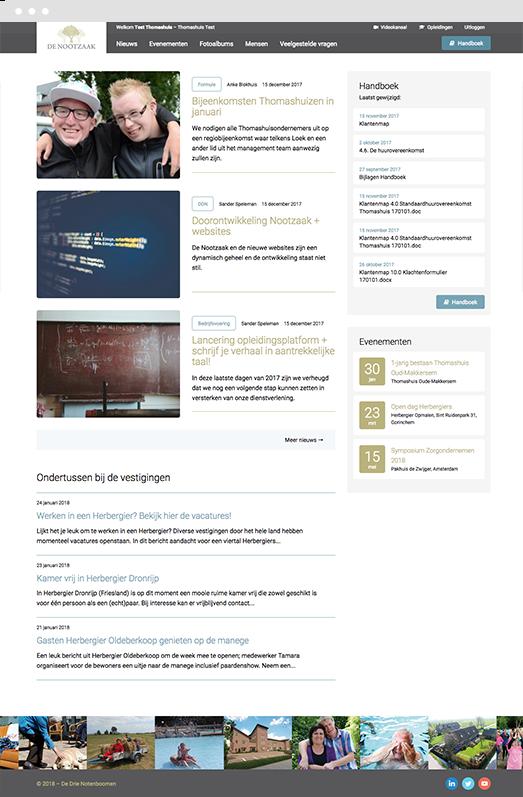 Impression of the Drupal platform homepage for De Drie Notenboomen