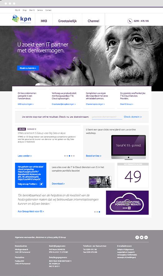 New website design screenshot for KPN InternedServices built in Drupal