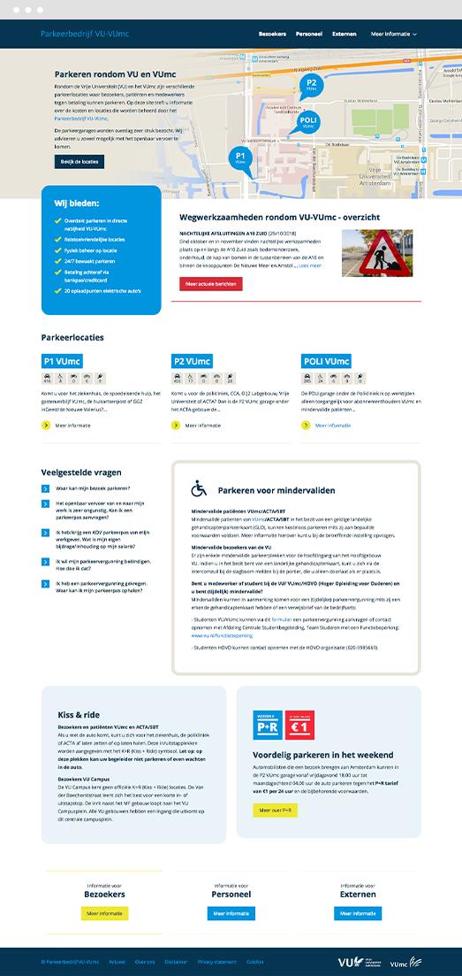 Screenshot of the Drupal website frontpage for VU-VUmc