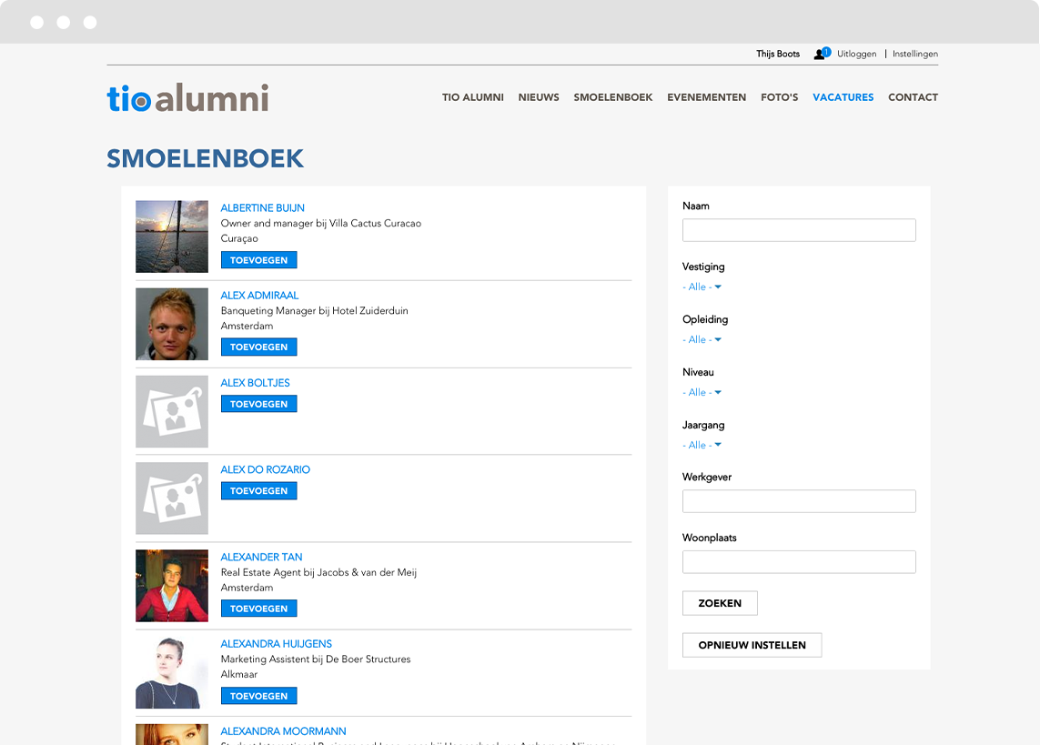 People page on social intranet platfom designed and developed in Drupal for Tio University