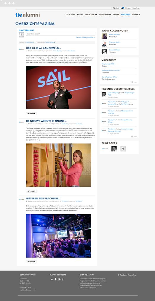Screenshot of the Drupal social intranet platform for Tio University