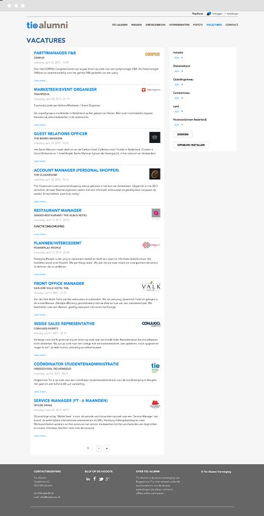 Screenshot of jobs page on Drupal intranet platform for Tio University