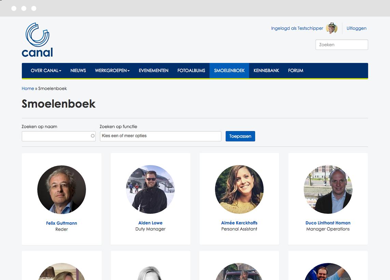 Visual staff directory on Canal Company's Drupal intranet platform