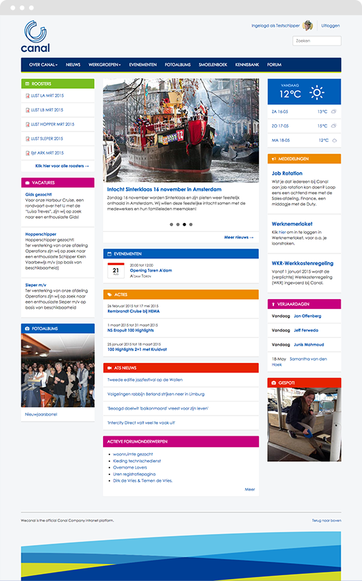 Screenshot of Drupal intranet homepage for Canal Company
