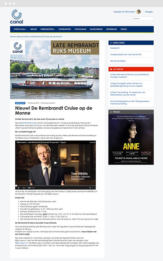 News article on Canal Company's Drupal intranet platform