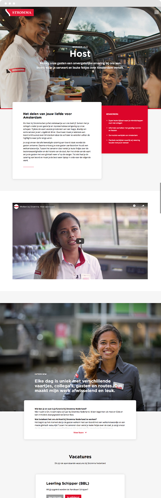 Screenshot of Drupal landing page design for Stromma recruitment