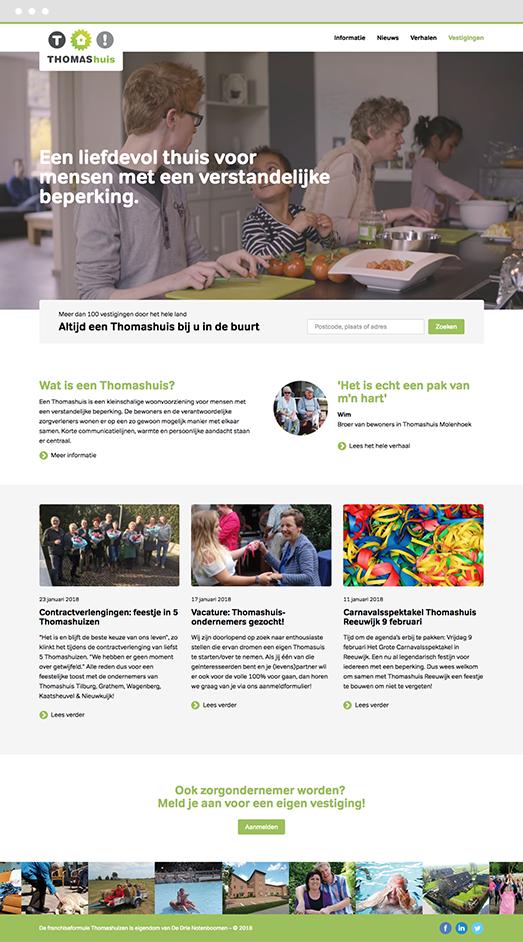 Screenshot of Drupal website project for De Thomashuizen