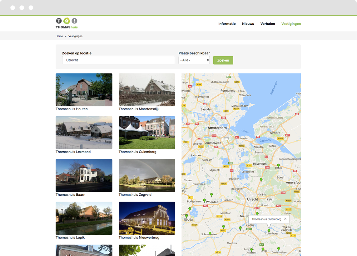 Screenshot of Google Maps integration for Drupal platform Thomashuis.nl