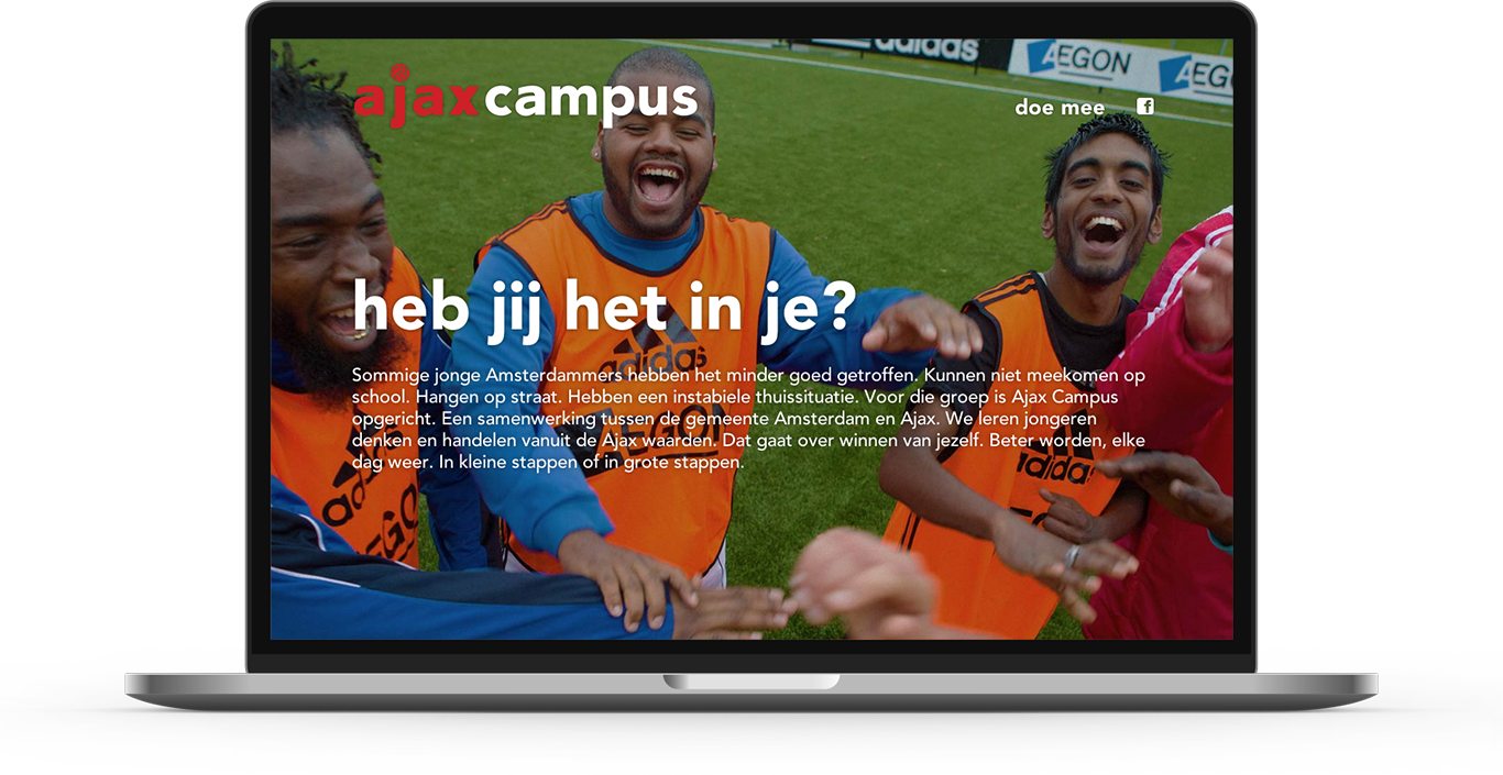 Campaign website we created for football club Ajax Amsterdam