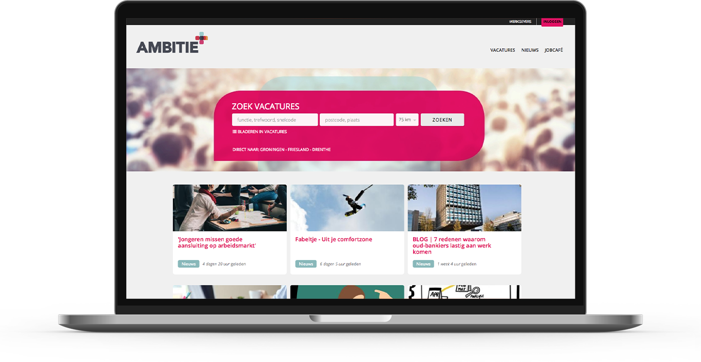 Recruitment platform homepage for Ambitie.nl developed in Drupal