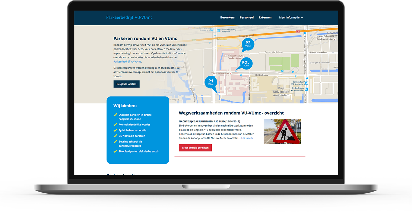 Impression of the homepage of the Drupal platform designed and developed for VU-Vumc in Amsterdam