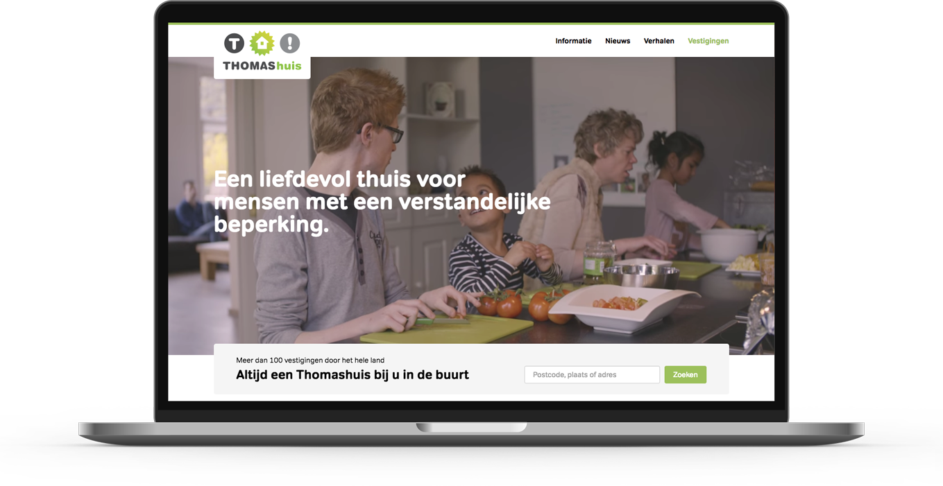 Drupal platform website designed and developed for Thomashuizen