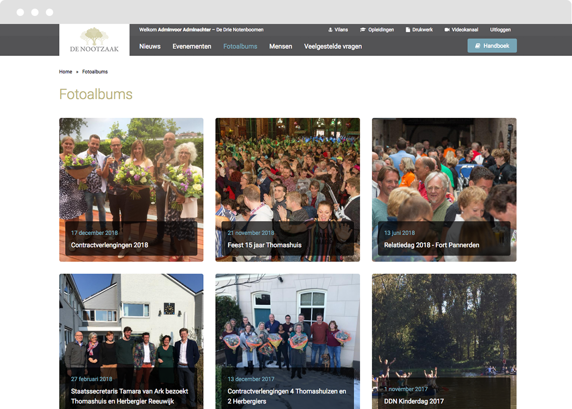 View of the photo gallery page on Drupal platform for De Drie Notenboomen