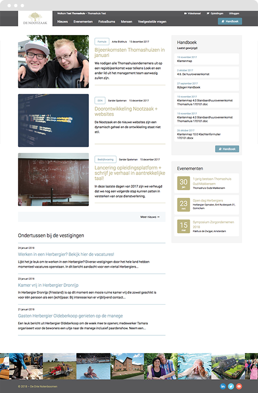 Impression of the Drupal platform homepage for De Drie Notenboomen