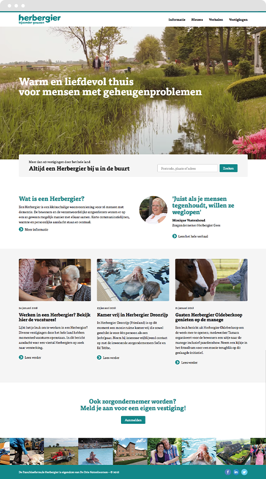 View of the Drupal frontpage design for Herbergier