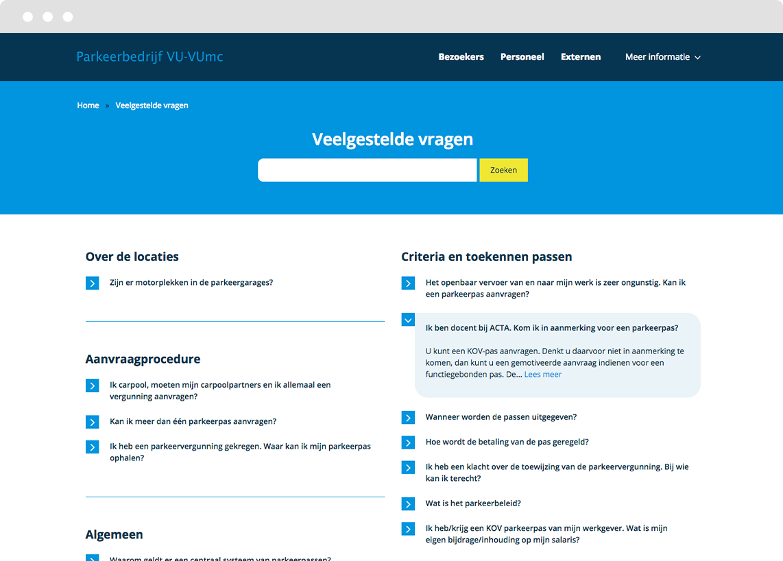 View of the landing page with FAQs in a Drupal CMS website