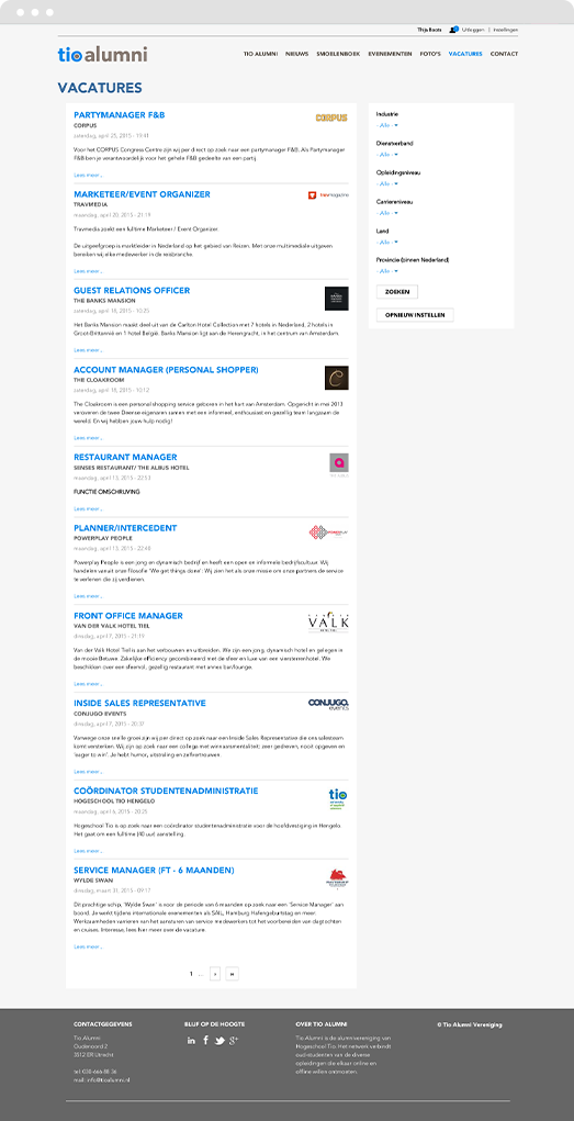 Screenshot of jobs page on Drupal intranet platform for Tio University