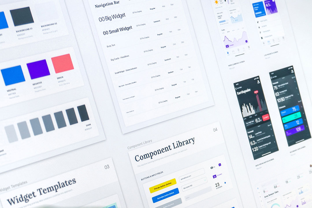 Design system featuring color scheme, fonts and components