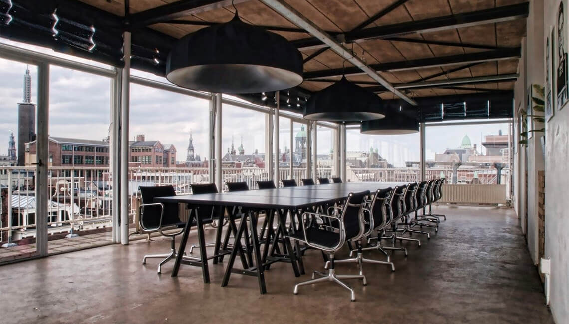 Meeting room on the sixth floor of The Savvy Few office building at Rokin 75 in Amsterdam