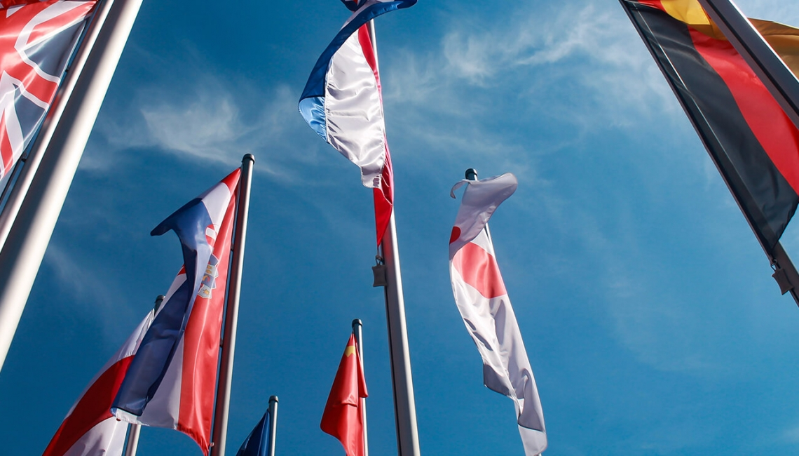 International flags symbolising multi-language websites
